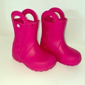 Crocs rain boots hot pink for children size 8